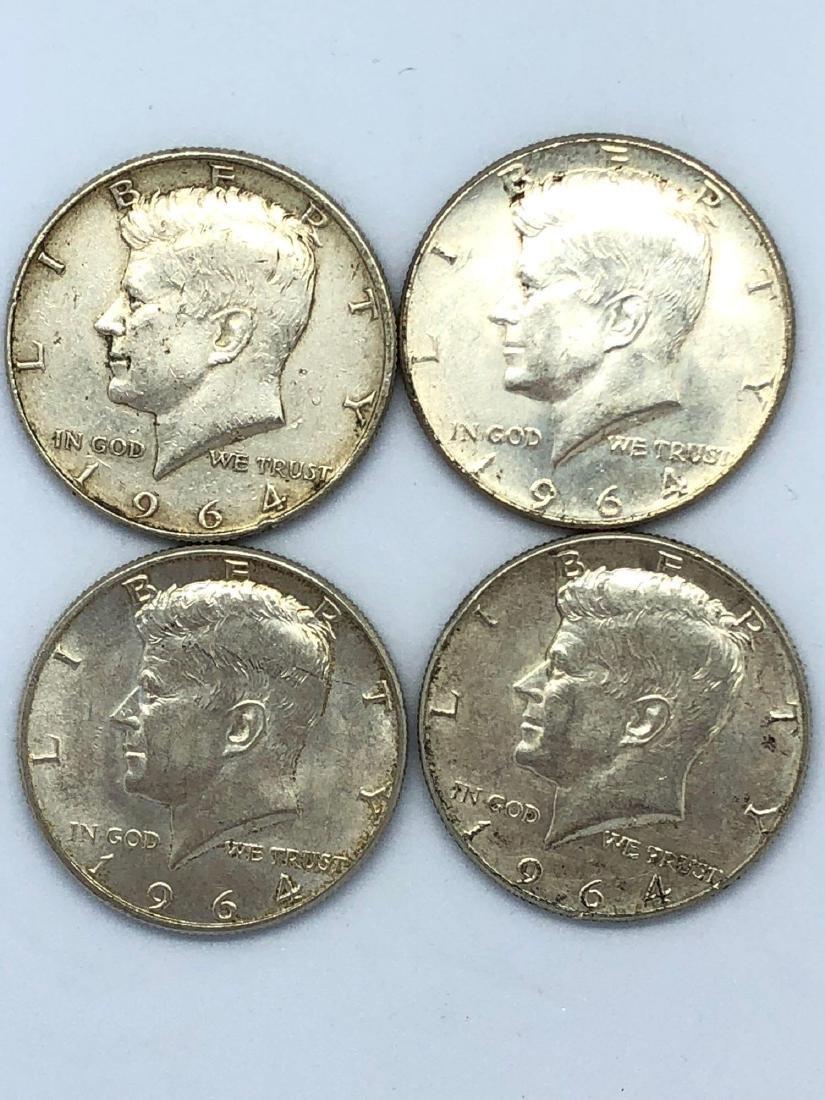 Lot Of Four 1964 Kennedy Half Dollar Coins