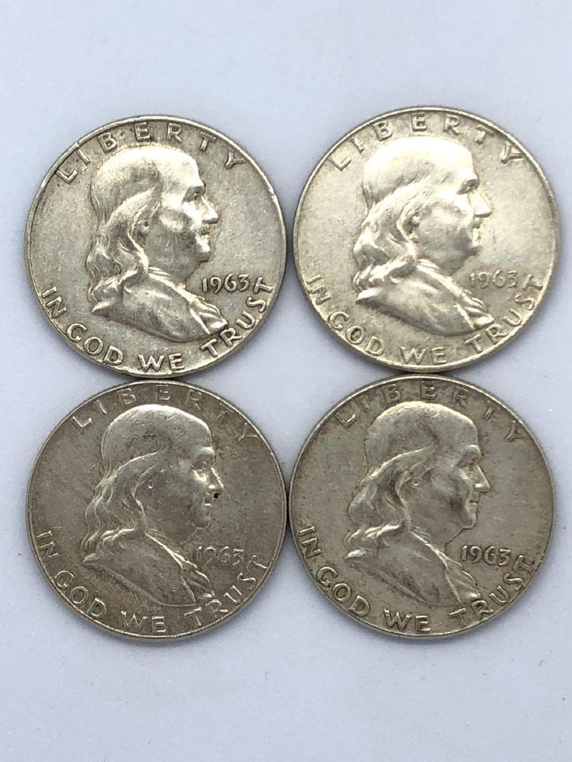 Lot Of Four 1963 Kennedy Half Dollar Coins