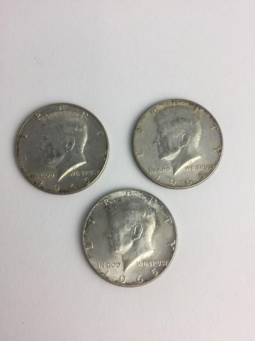Lot of Three 1965 Kennedy Half Dollars