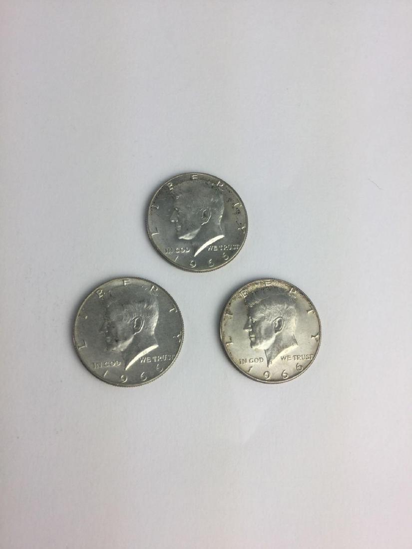 Lot of Three 1966 Kennedy Half Dollars