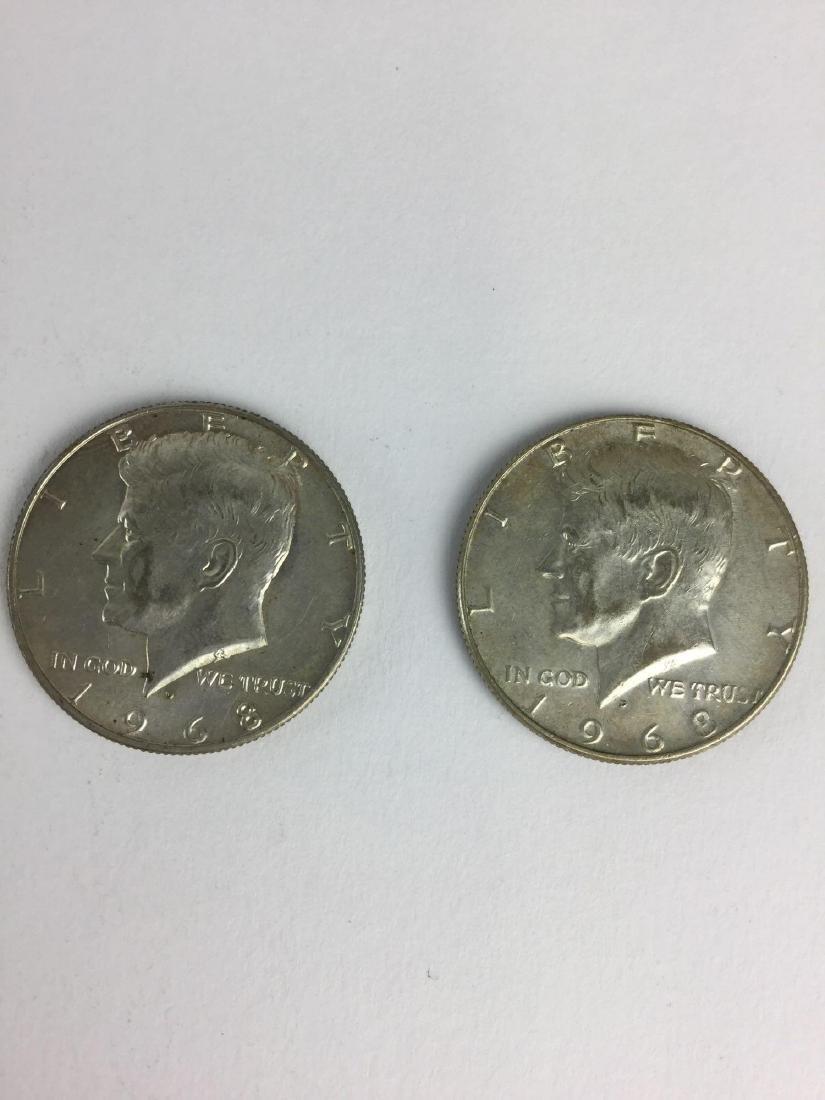 Lot of Two 1968 Kennedy Half Dollar