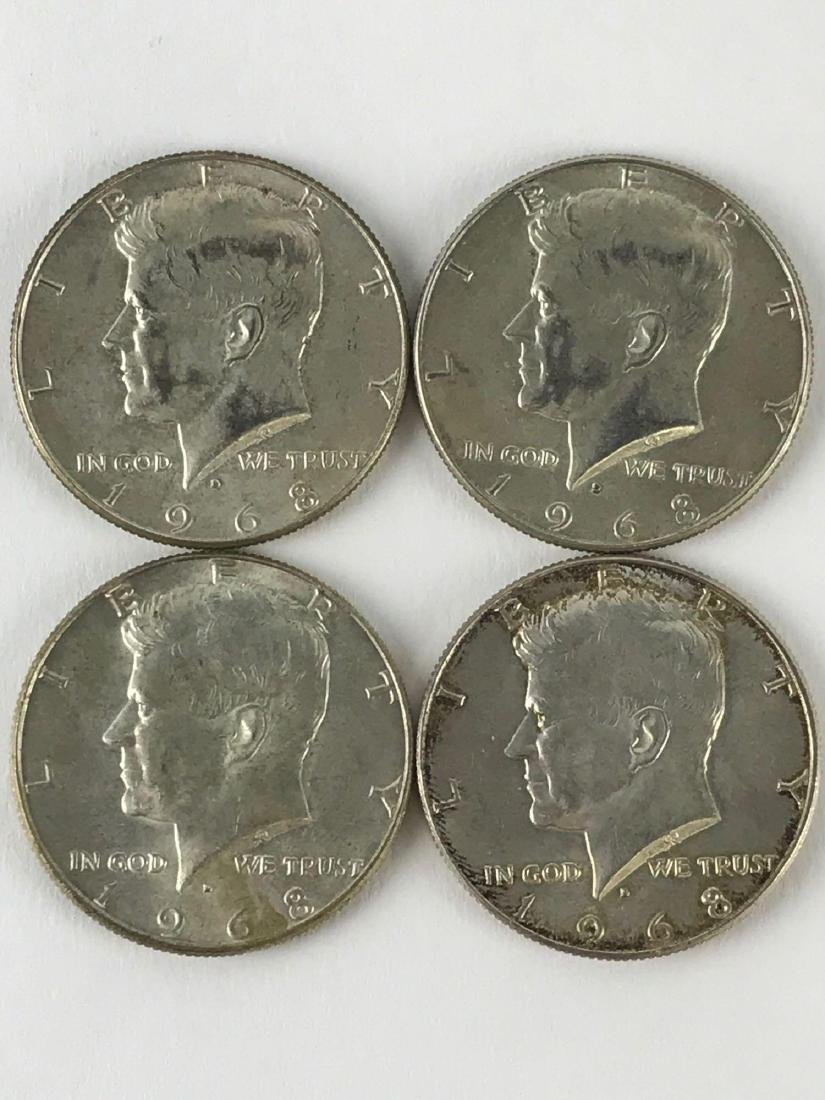 Lot Of Four 1968 Kennedy Half Dollar Coins