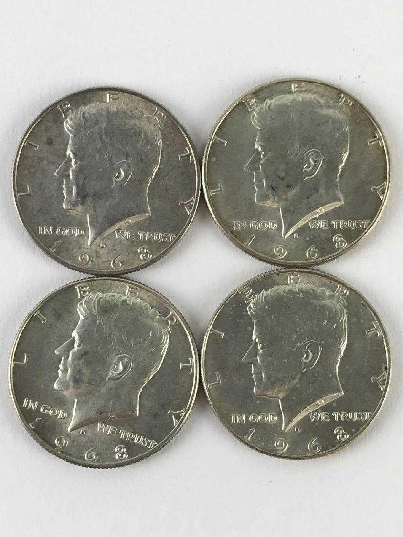 Lot Of Four 1968 Kennedy Half Dollar Coins - 2