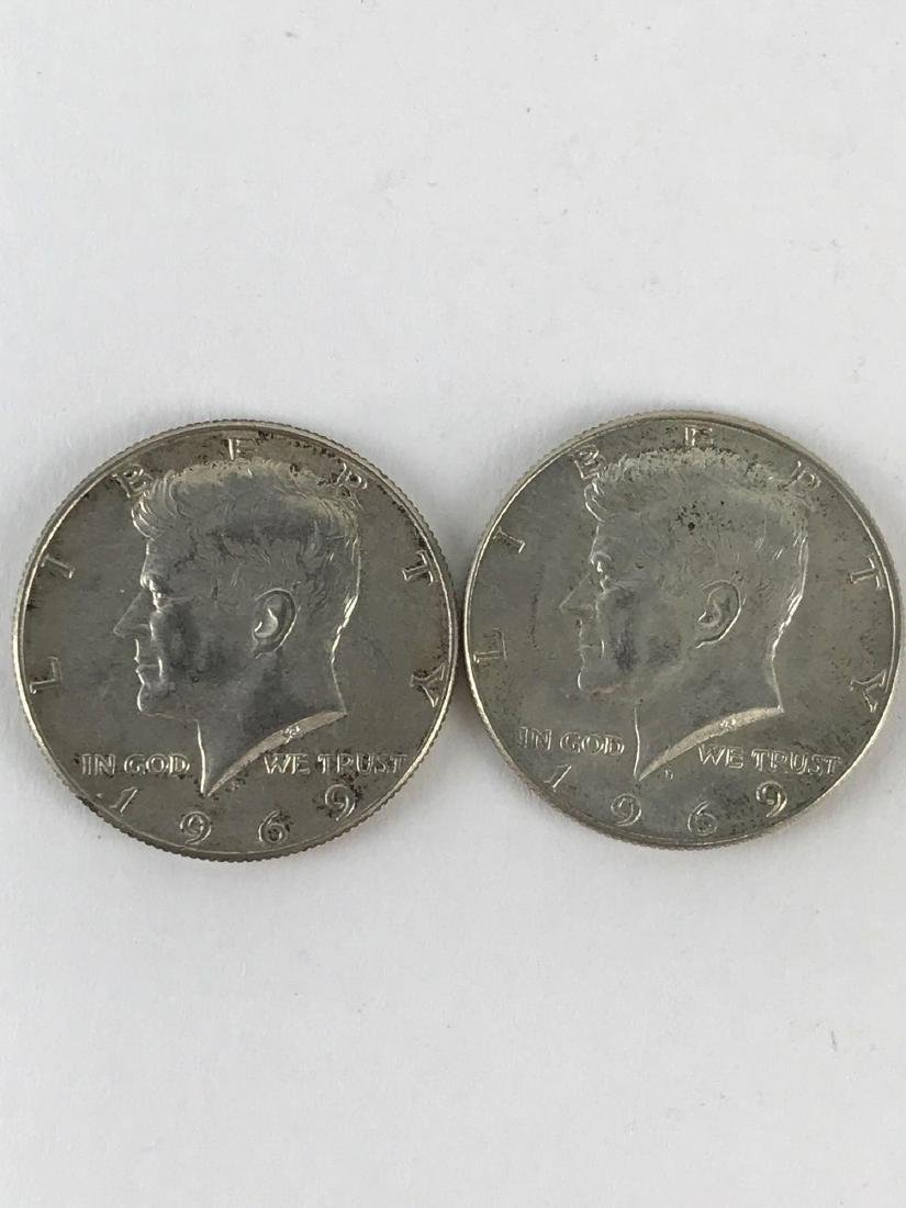 Lot Of Two 1969 Kennedy Half Dollar Coins