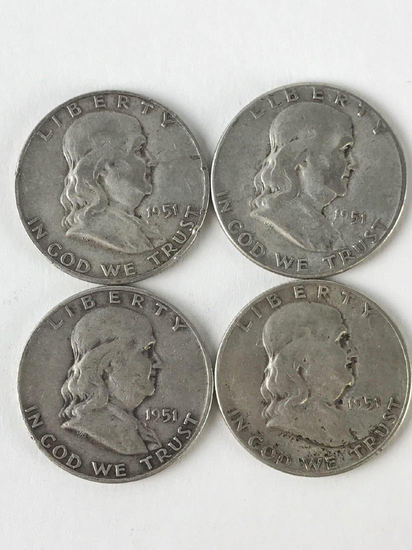Lot Of Four 1951 Franklin Half Dollar Coins