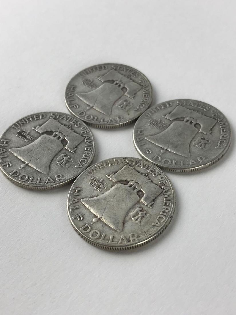 Lot Of Four 1951 Franklin Half Dollar Coins - 3