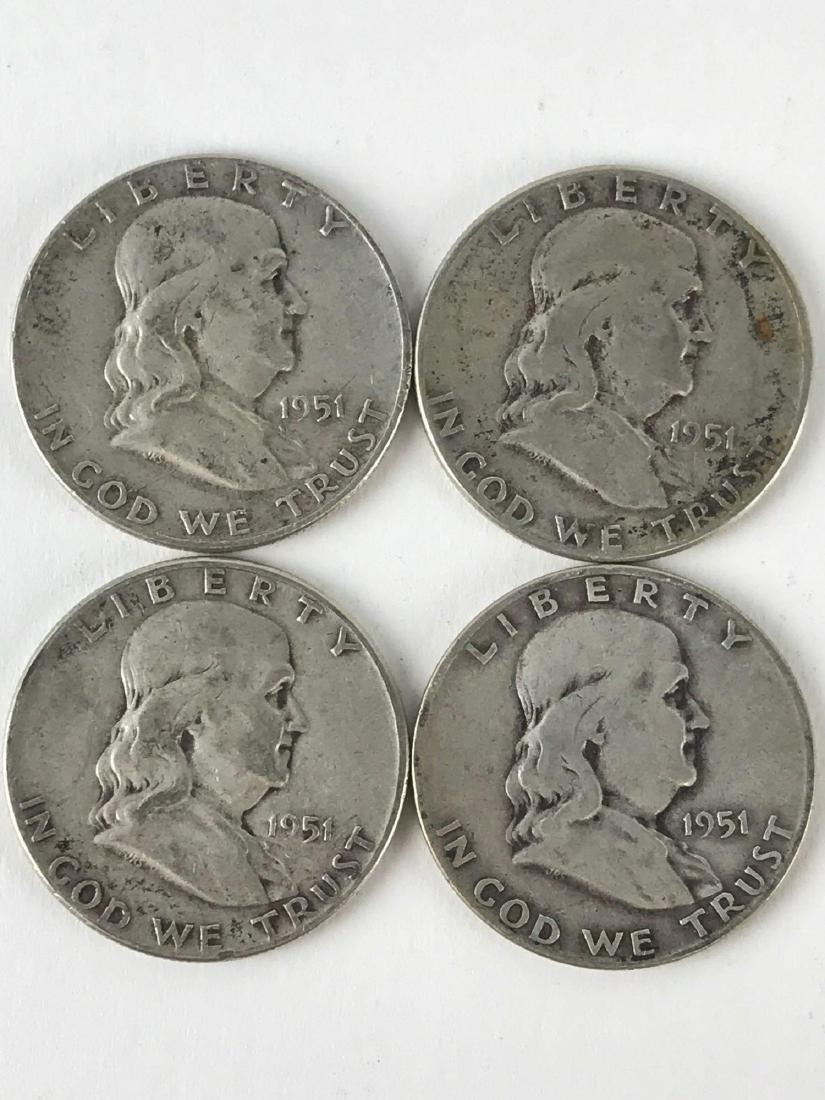 Lot Of Four 1951 Franklin Half Dollar Coins