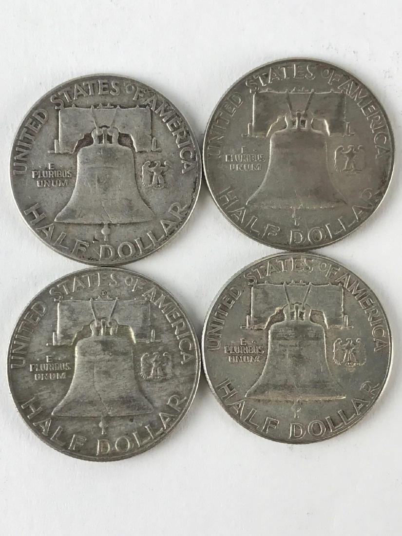 Lot Of Four 1951 Franklin Half Dollar Coins - 2