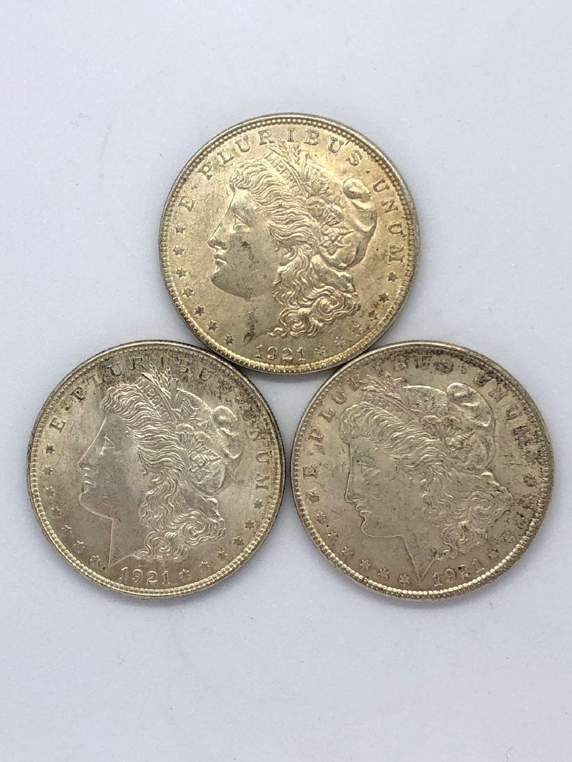 Lot Of Three 1921 Morgan Silver Dollar Coins P-Mint
