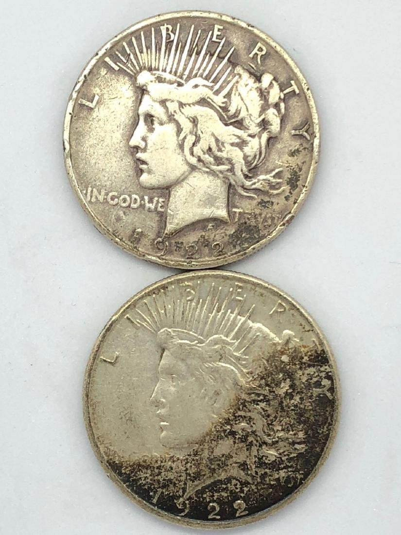 Lot Of Two 1922 Peace Silver Dollar Coins P-Mint