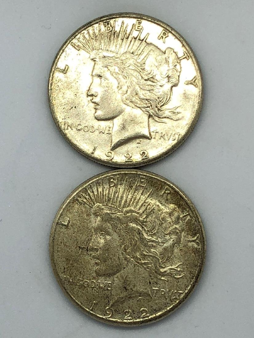 Lot Of Two 1922 Peace Silver Dollar Coins S-Mint