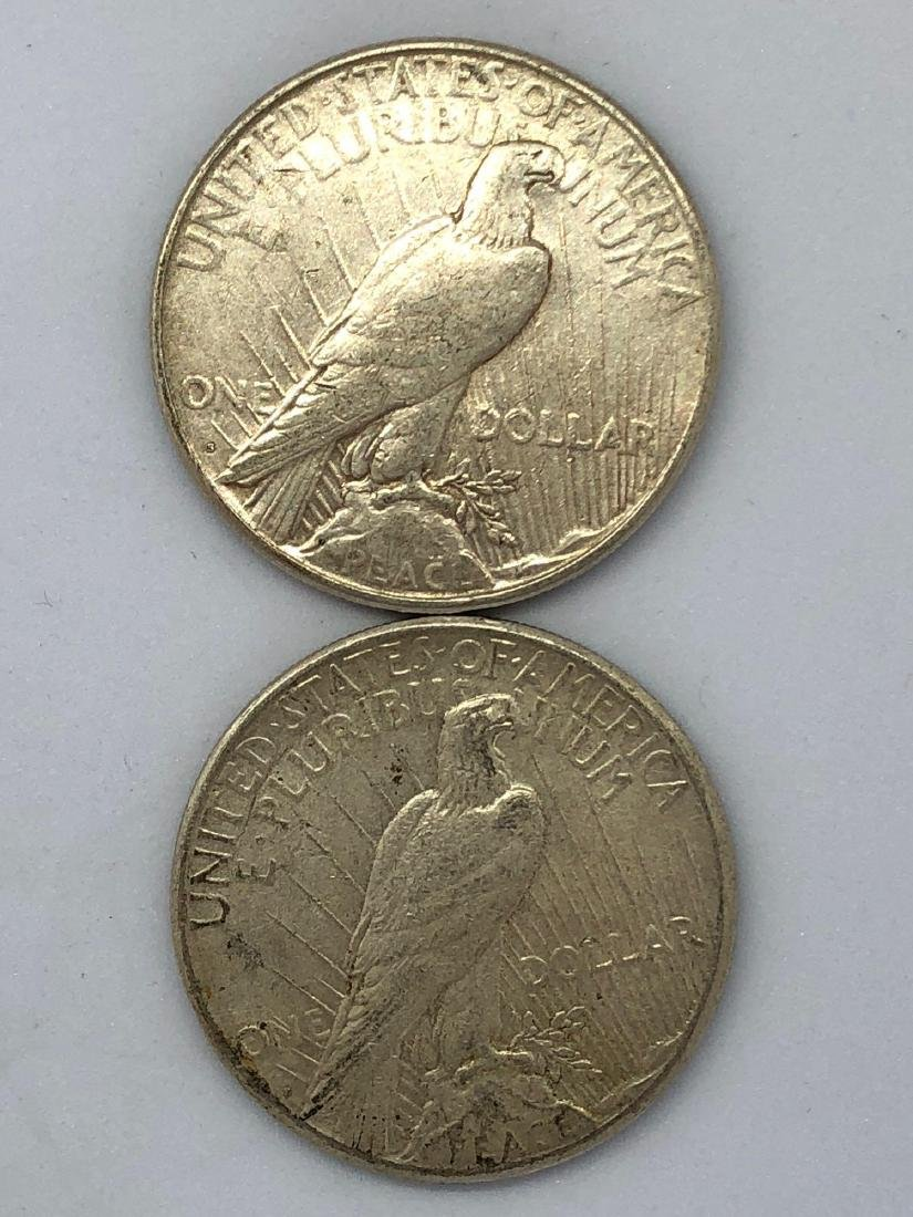 Lot Of Two 1922 Peace Silver Dollar Coins S-Mint - 2