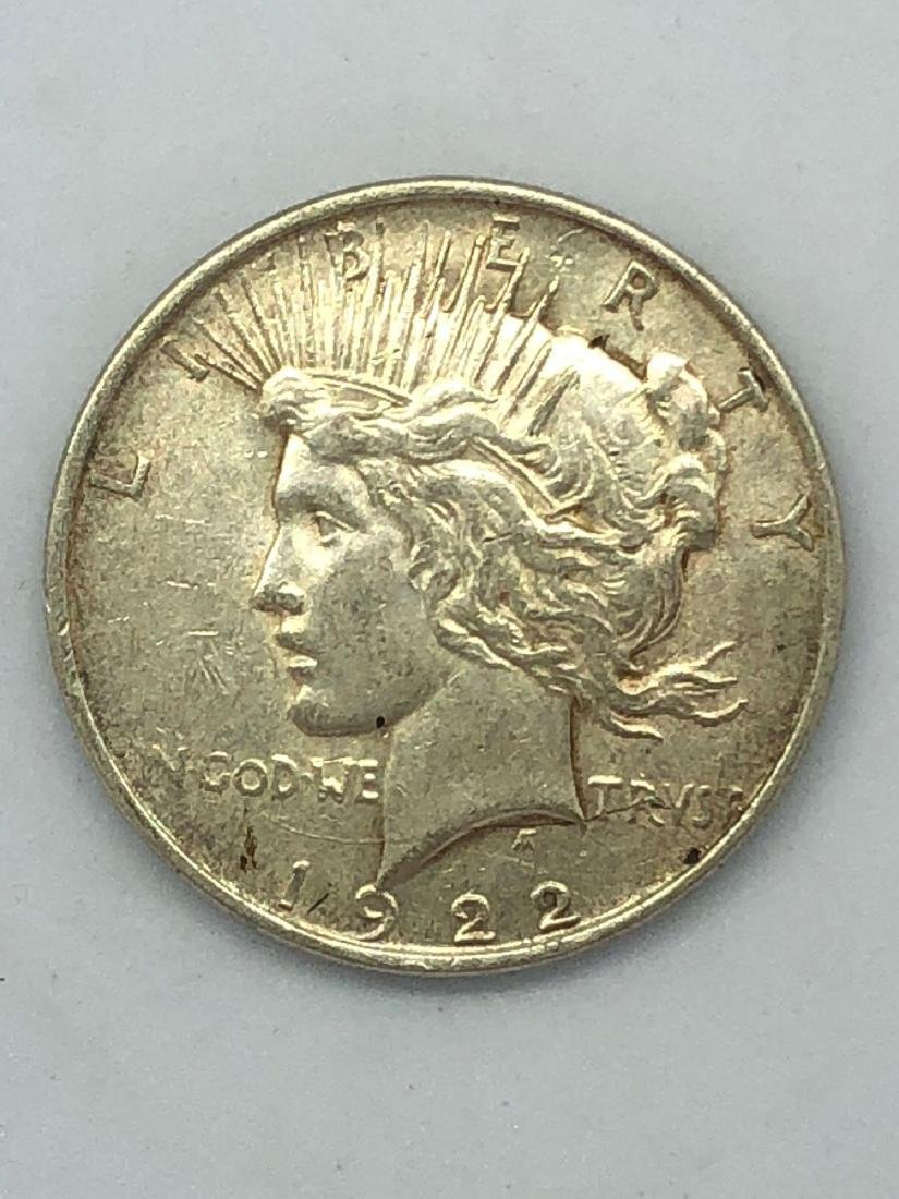 Lot Of One 1922 Peace Silver Dollar Coins D-Mint