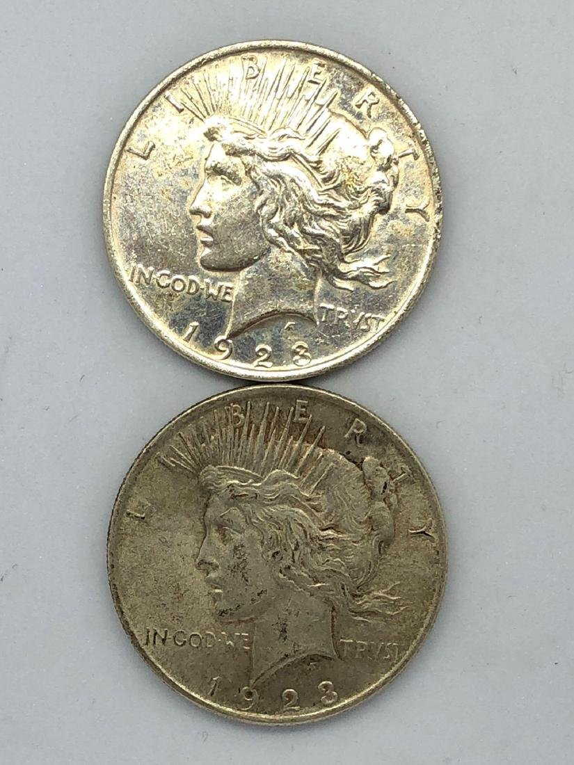 Lot Of Two 1923 Peace Silver Dollar Coins P-Mint