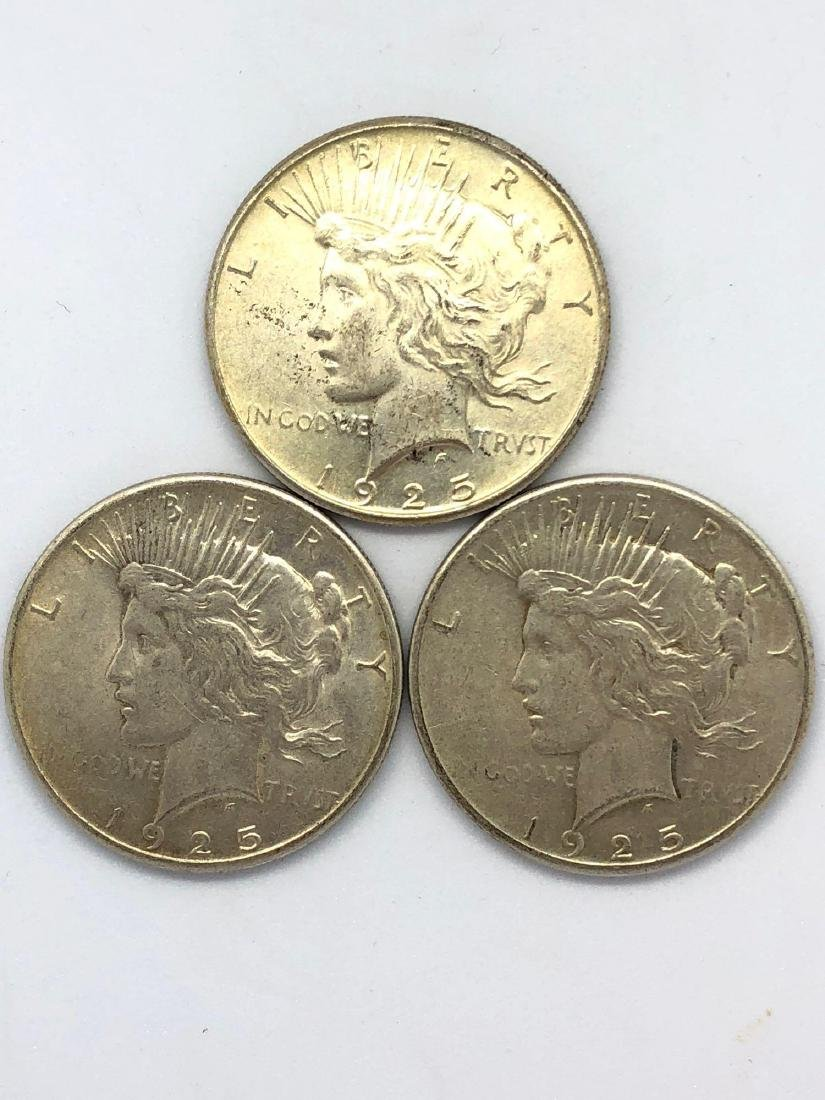 Lot Of Three 1925 Peace Silver Dollar Coins P-Mint