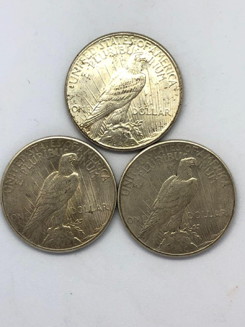 Lot Of Three 1925 Peace Silver Dollar Coins P-Mint - 2