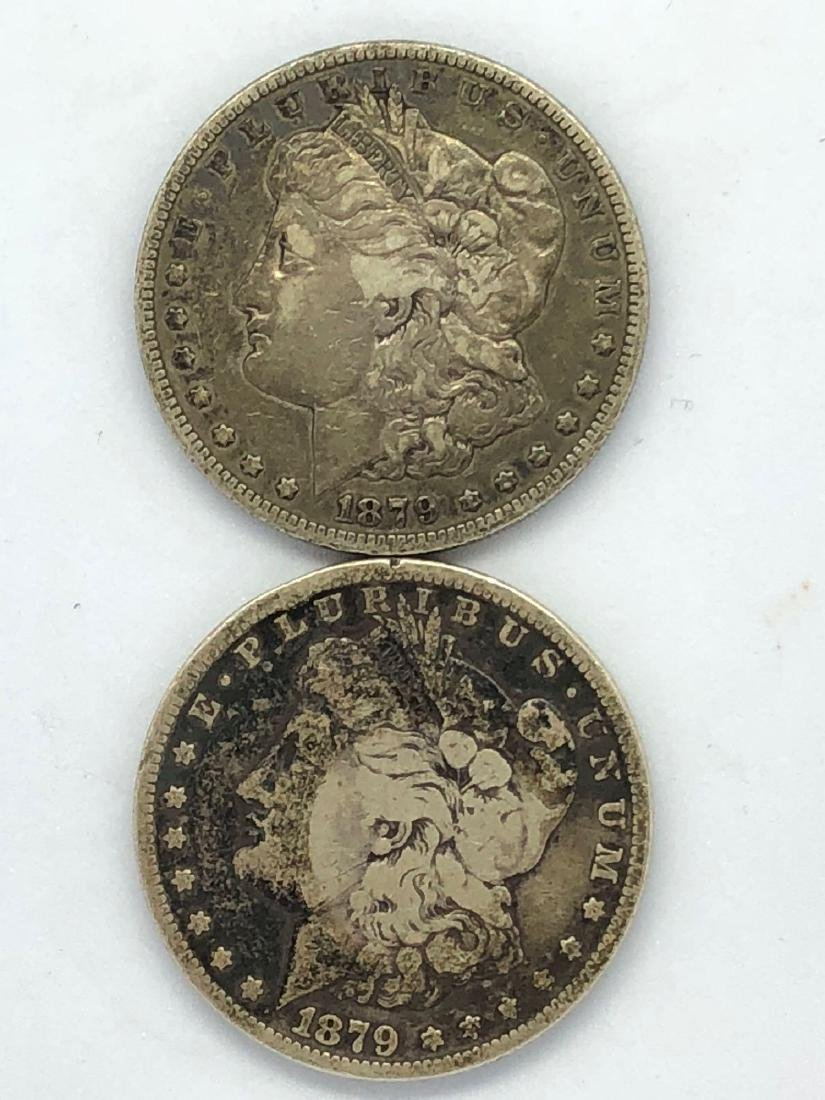 Lot Of Two 1879 Morgan Silver Dollar Coins S/F-Mint