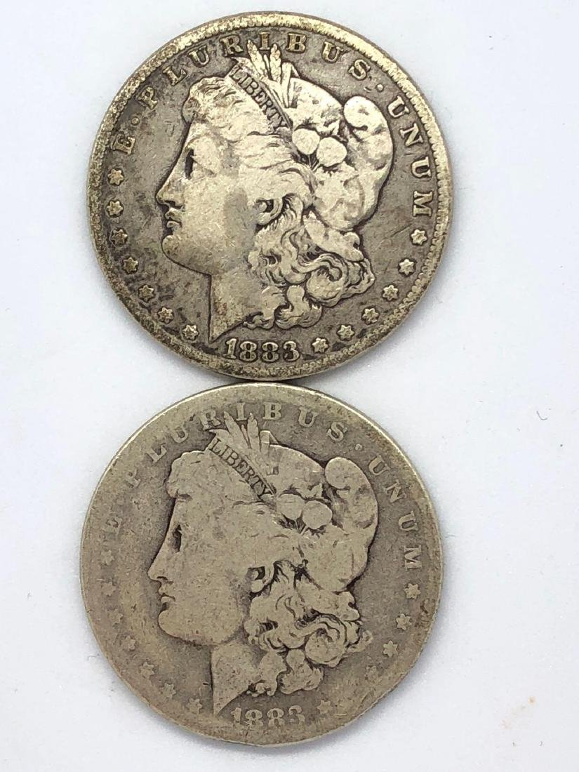 Lot Of Two 1883 Morgan Silver Dollar Coins P-Mint
