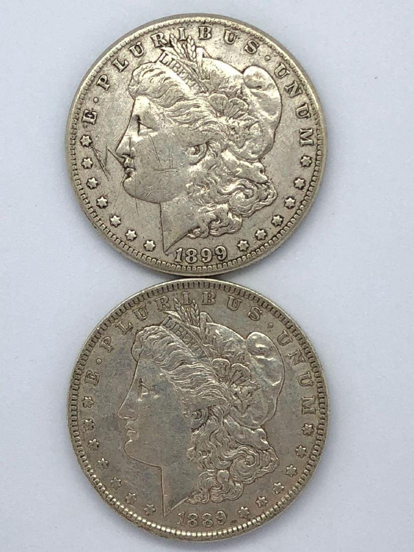 Lot Of Two 1889 Morgan Silver Dollar Coins O-Mint