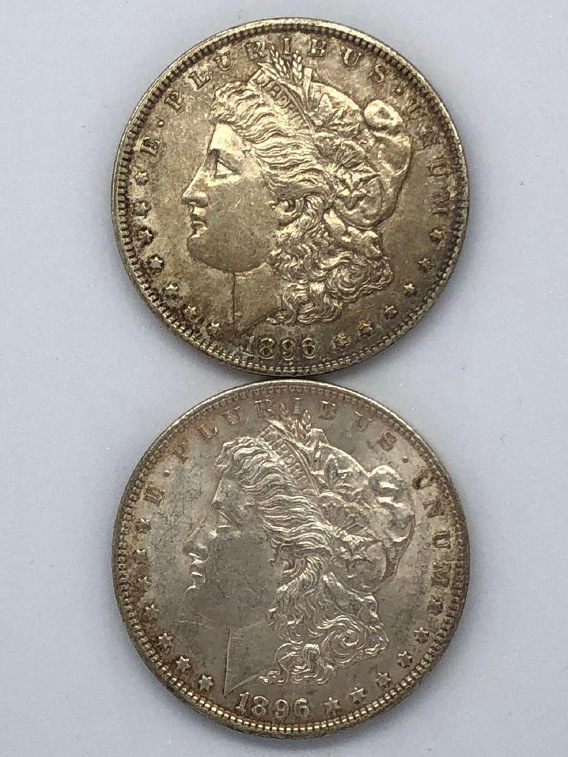 Lot Of Two 1896 Morgan Silver Dollar Coins P-Mint