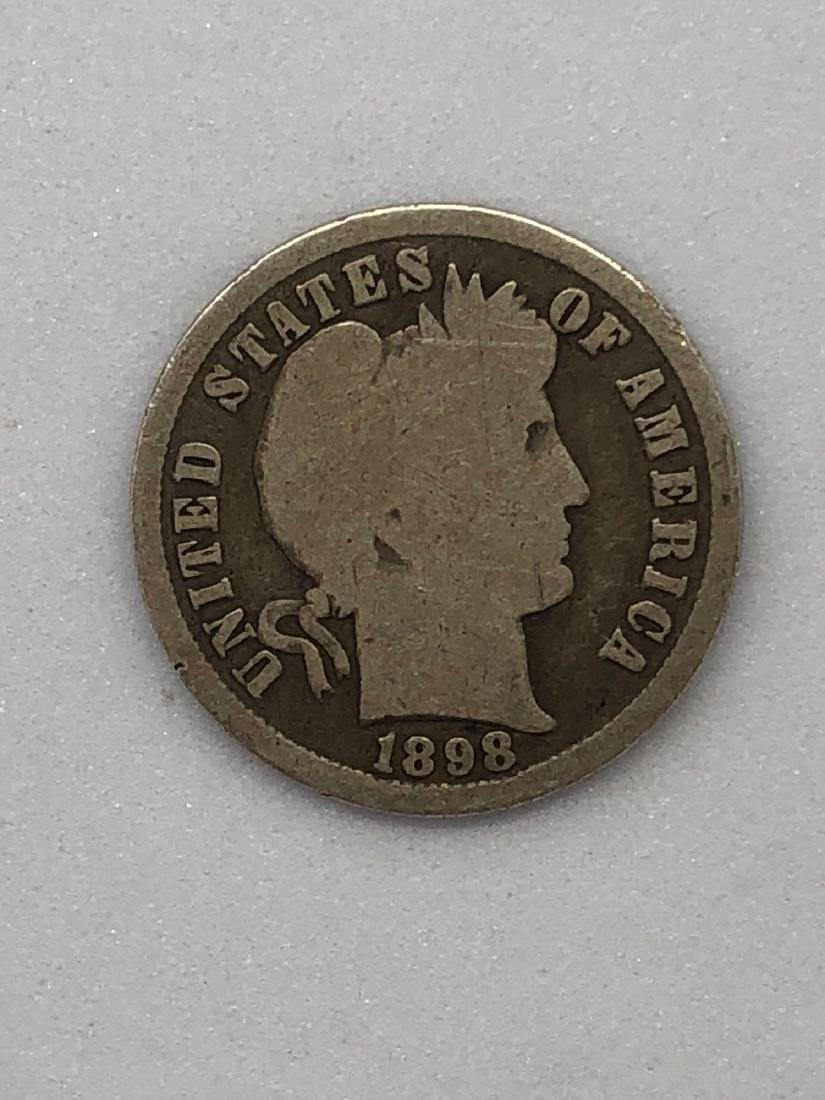 Lot Of One 1898 Barber Dime Coin P-Mint