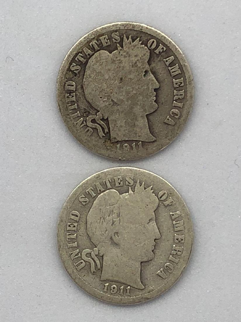 Lot Of Two 1911 Barber Dime Coins