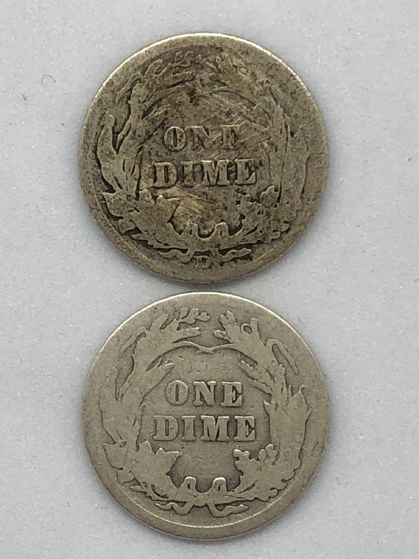 Lot Of Two 1911 Barber Dime Coins - 2