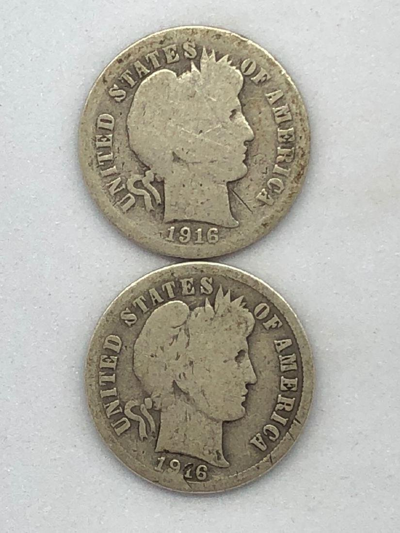 Lot Of Two 1916 Barber Dime Coins