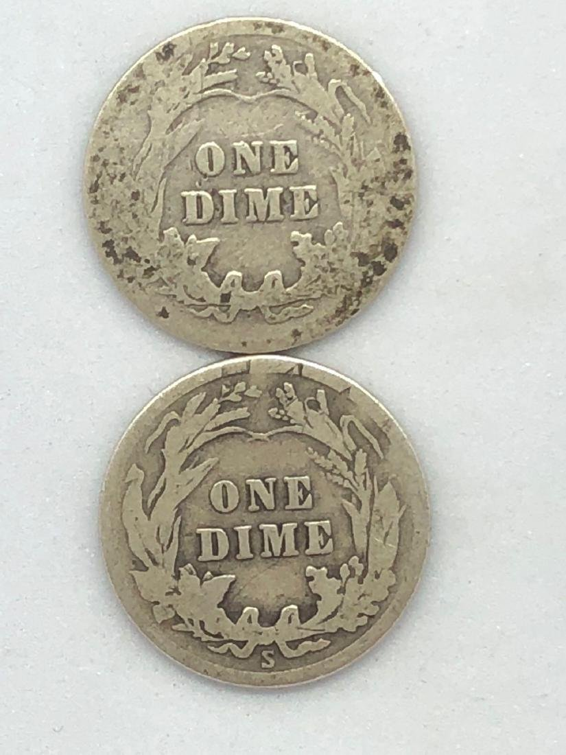 Lot Of Two 1916 Barber Dime Coins - 2