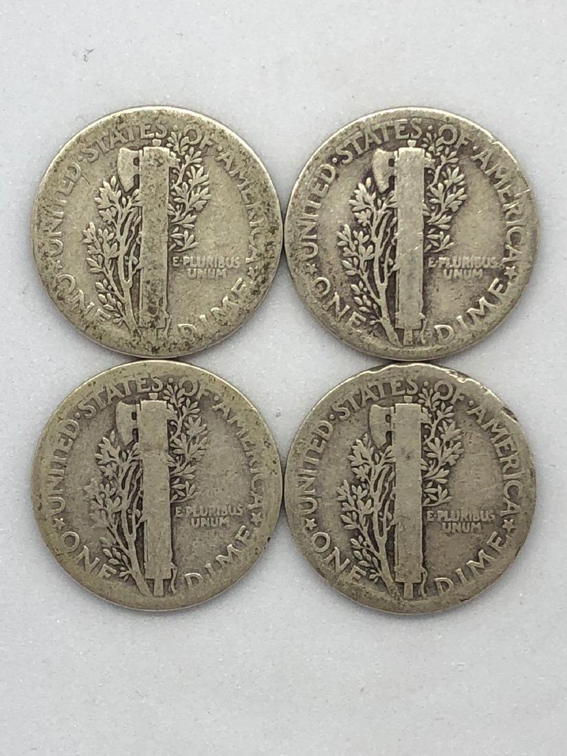 Lot Of Four 1920s Mercury Dime Coins - 2