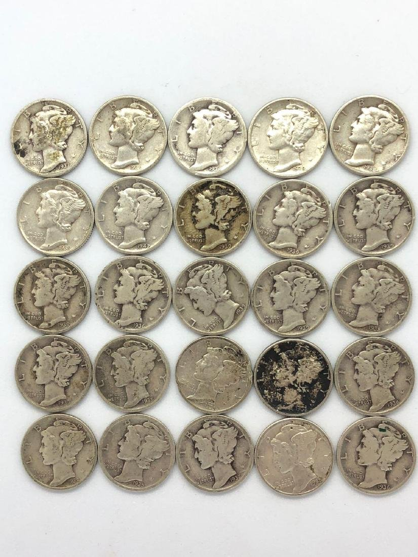 Lot Of 24 1930s Mercury Dime Coins