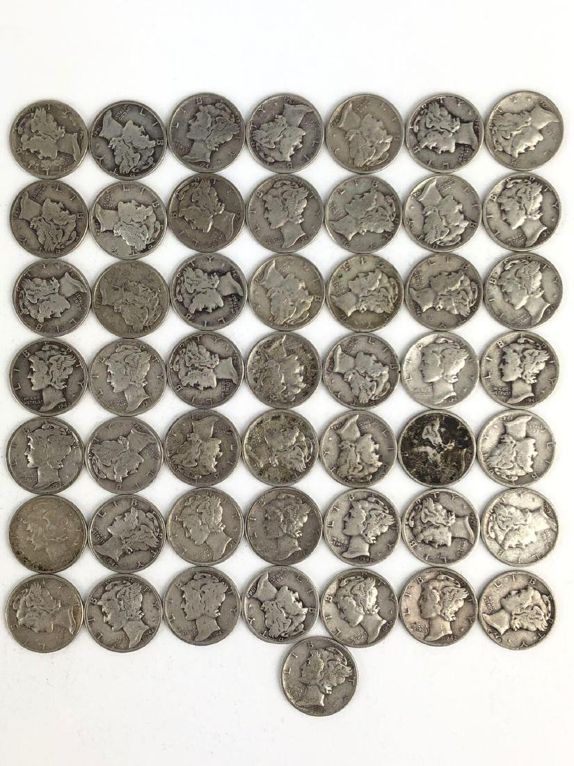 Lot Of 50 1940s Mercury Dime Coins