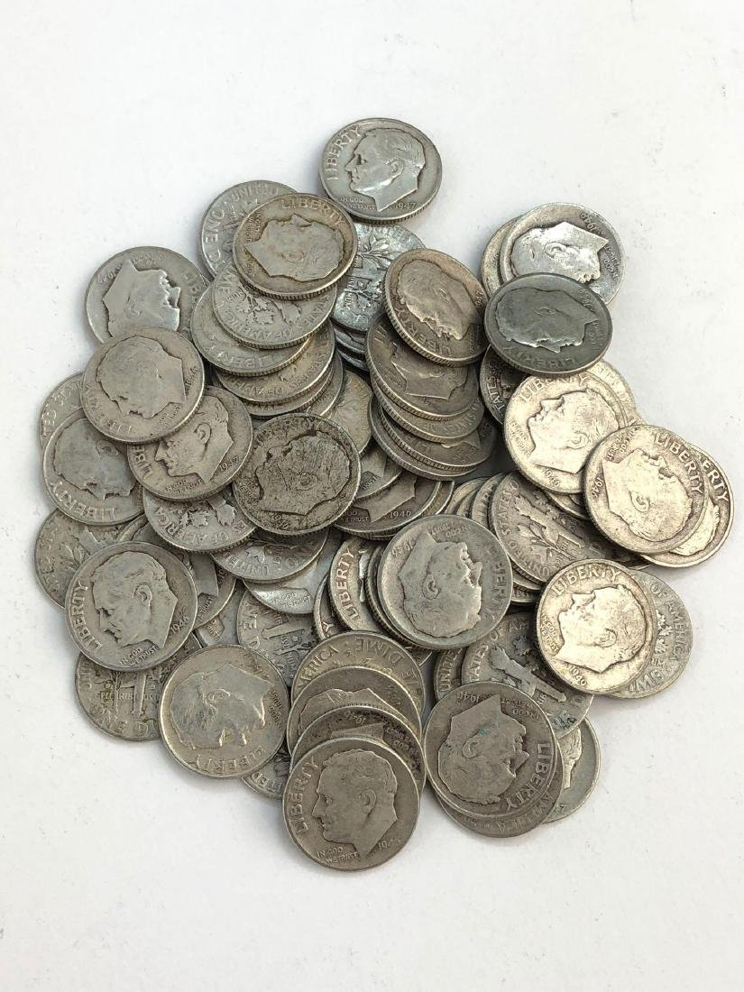 Lot Of 80 1940s Roosevelt Silver Dimes Coins