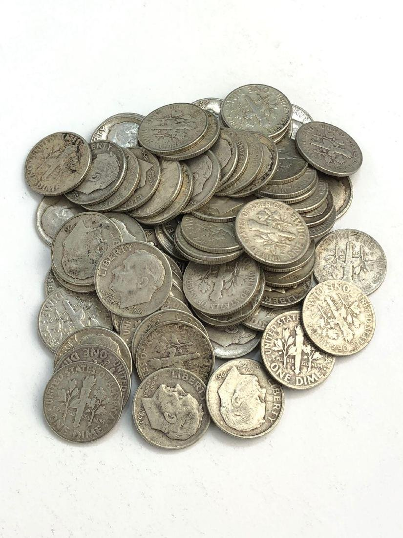 Lot Of 73 1950s Roosevelt Silver Dimes Coins