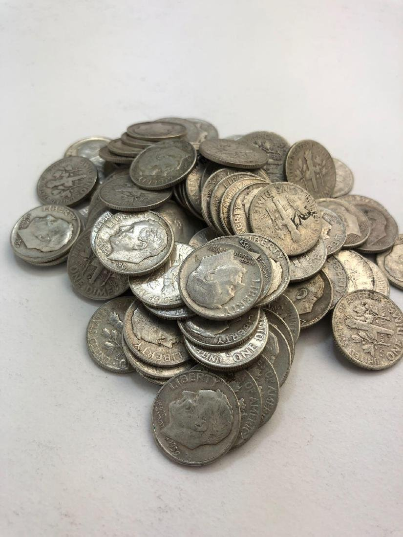 Lot Of 100 1950s Roosevelt Silver Dimes Coins - 2