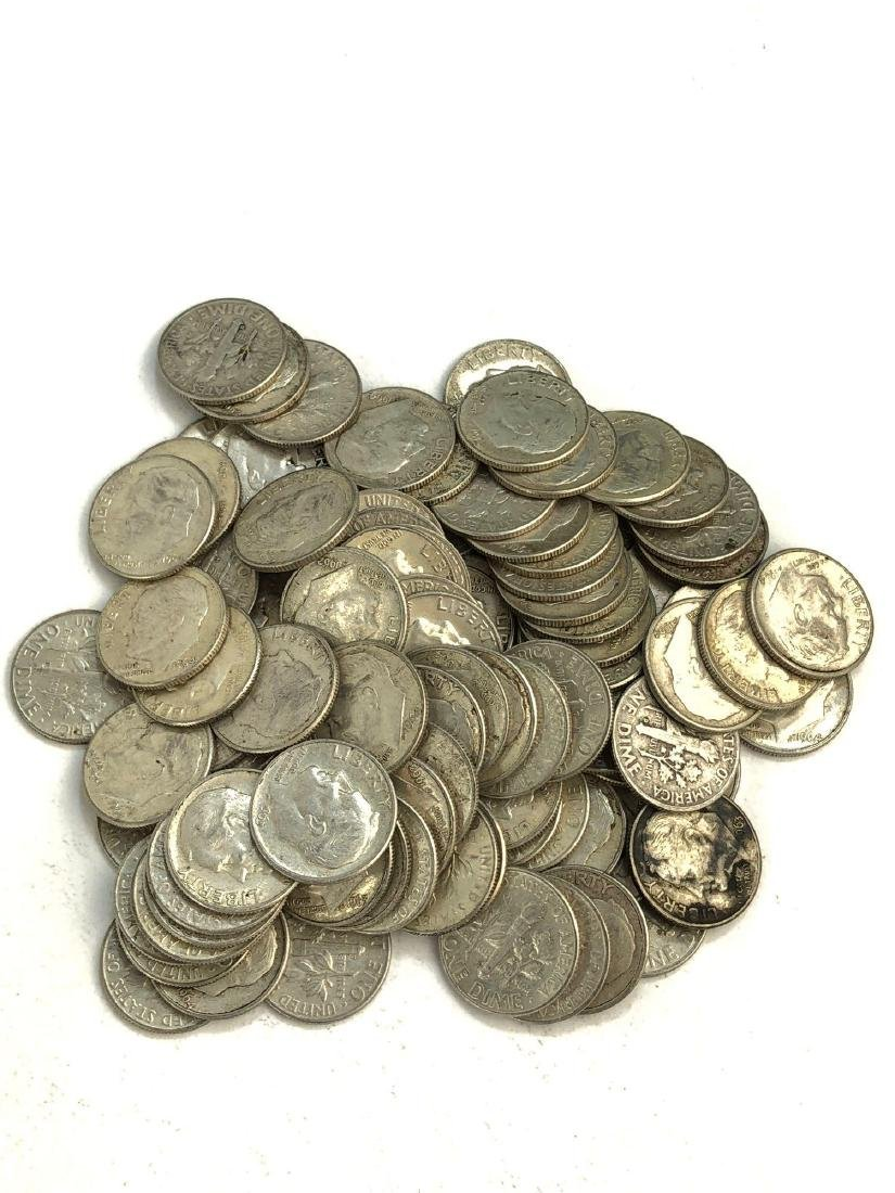 Lot Of 100 1960-1964 Roosevelt Silver Dimes Coins