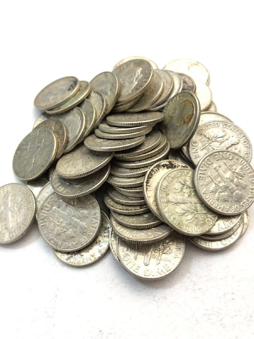 Lot Of 43 1960-1964 Roosevelt Silver Dimes Coins - 2