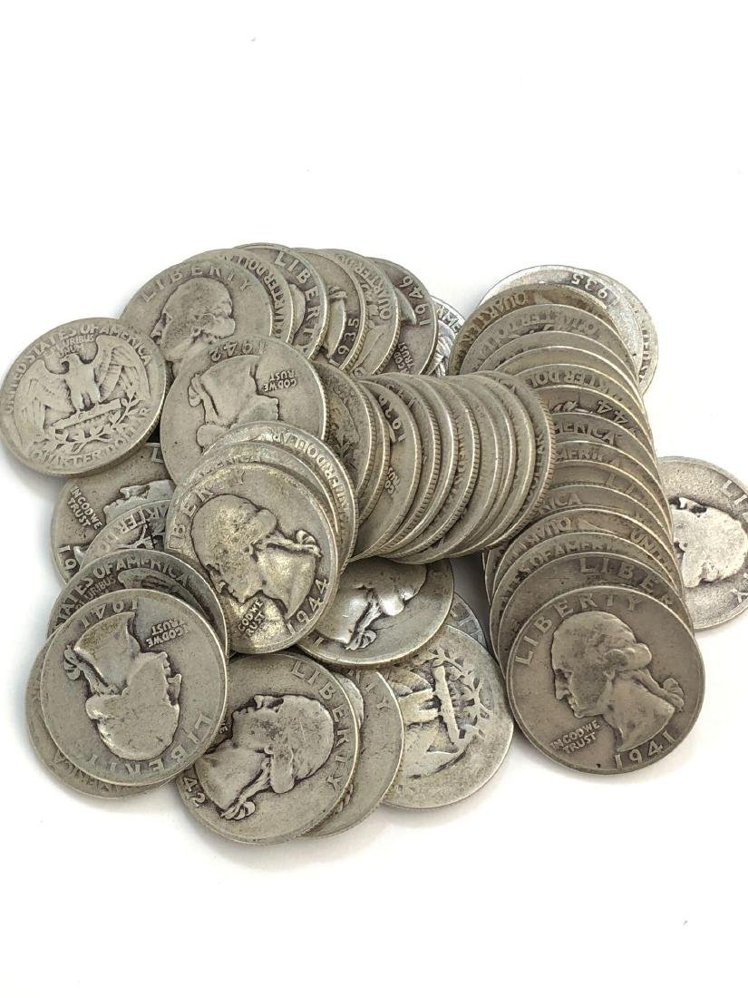 Lot Of 50 1950-1940s Washington 25 cent Coins