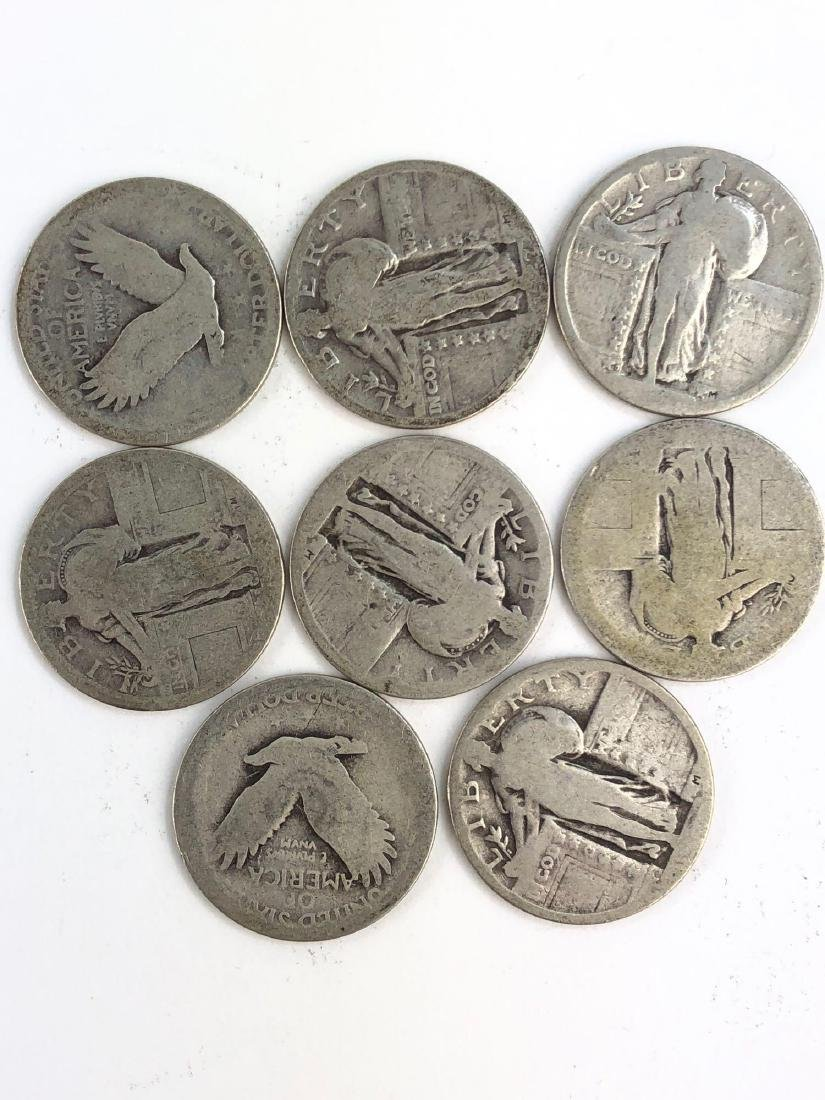 Lot Of Eight Standing Liberty Quarter Coins