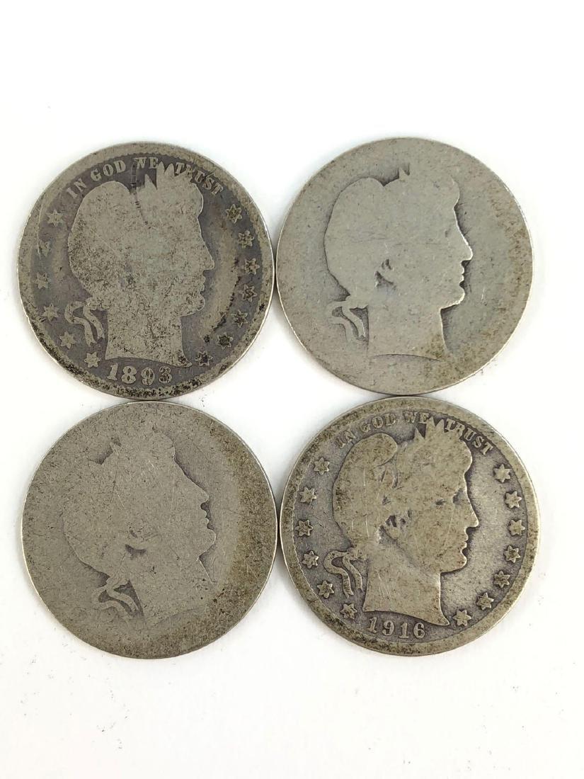 Lot Of Four Barber Quarters