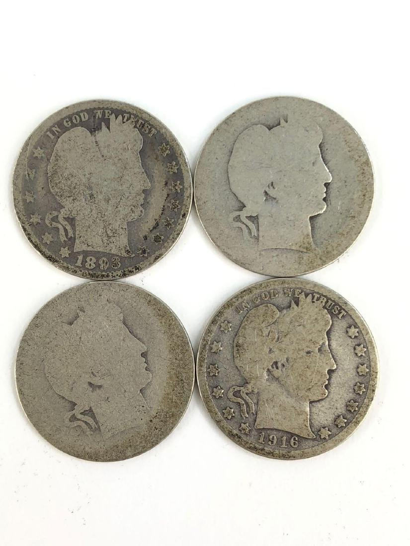 Lot Of Four Barber Quarters