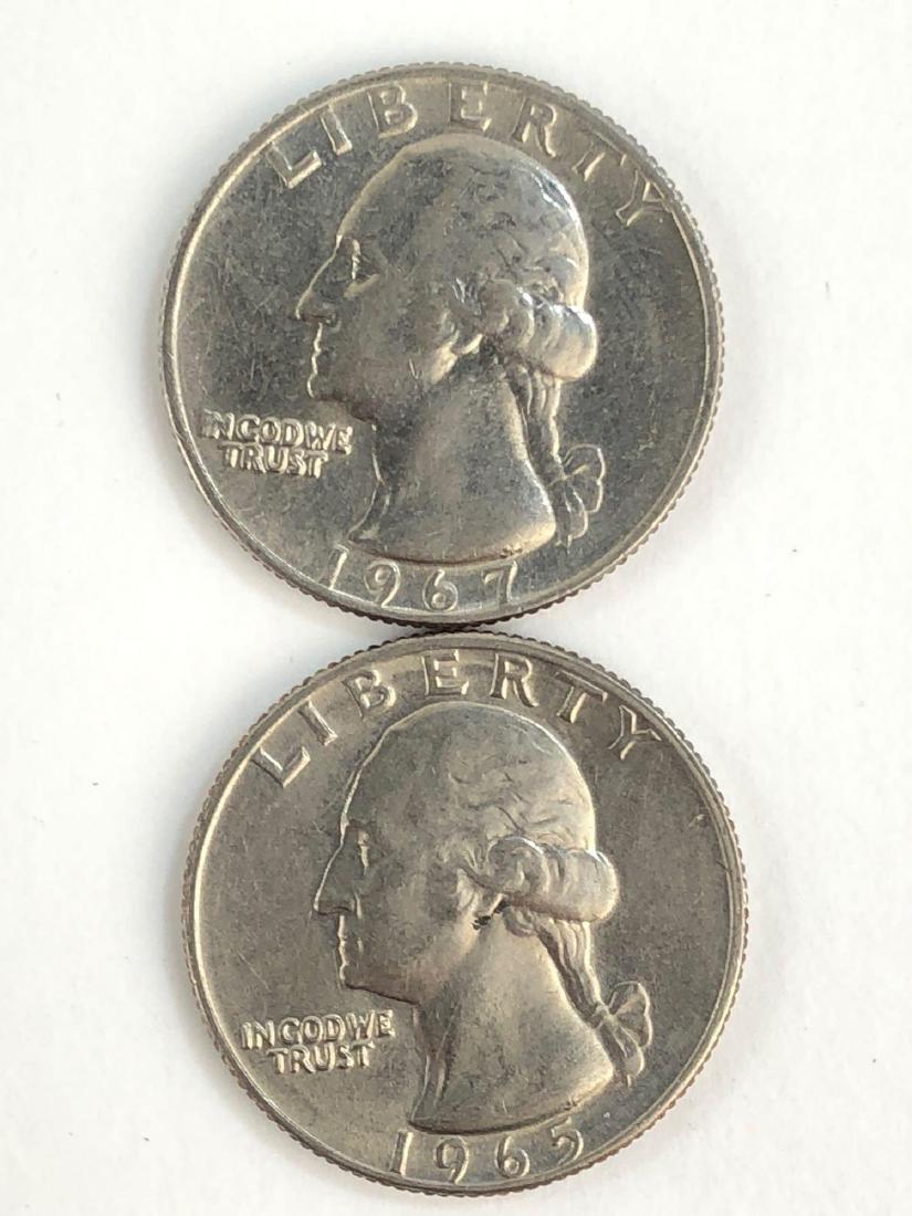 Lot Of Two 1965 + 1967 Washington Quarters