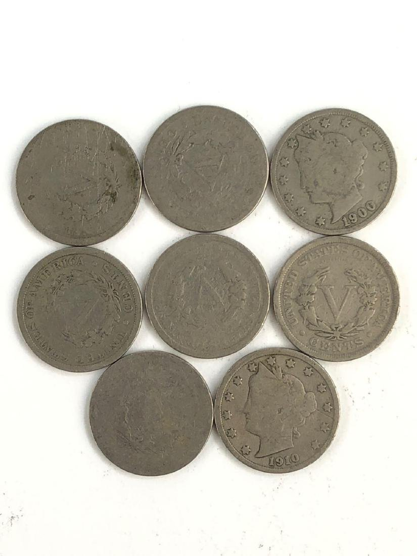 Lot Of 8 Liberty Nickles Coins