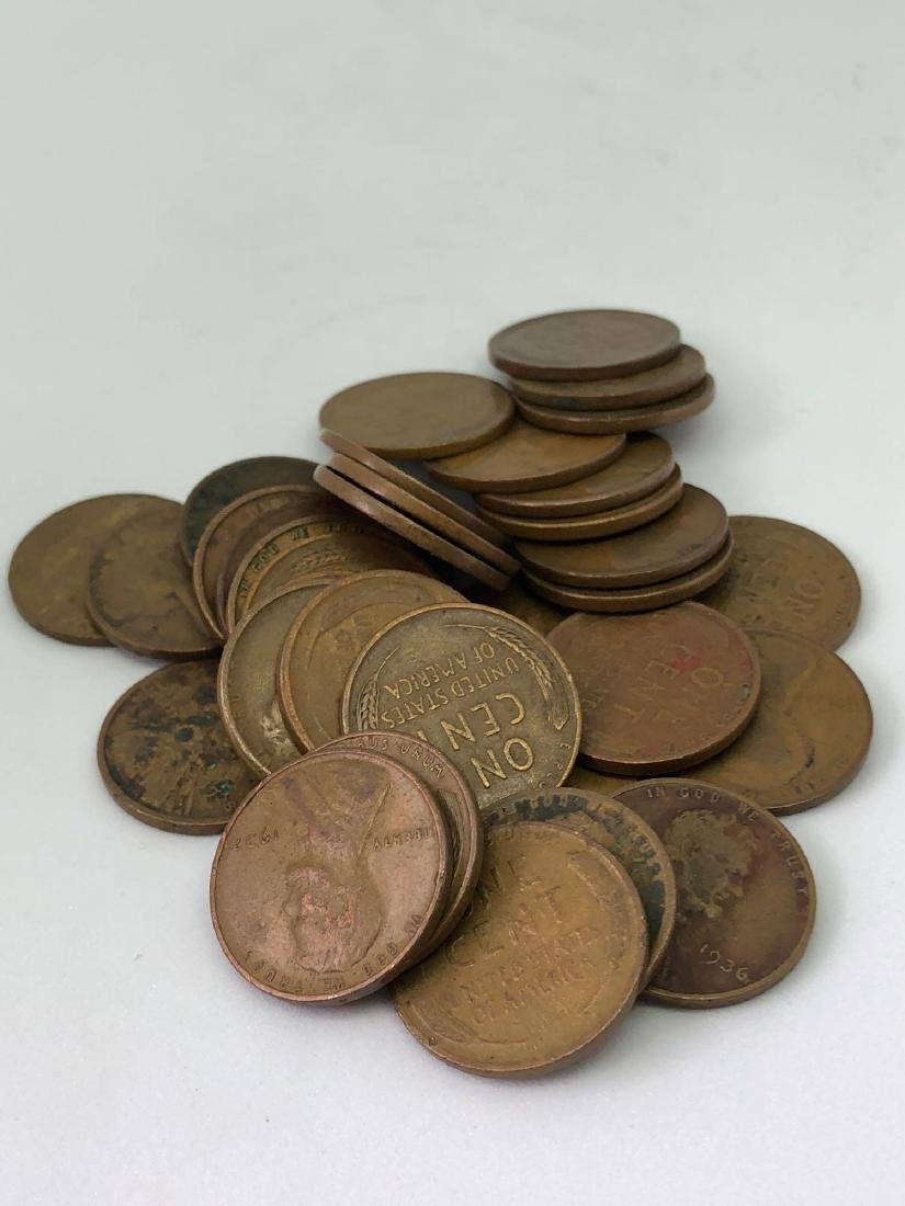 Lot of Thirty-Four 1910-1939 Lincoln Wheat Pennies