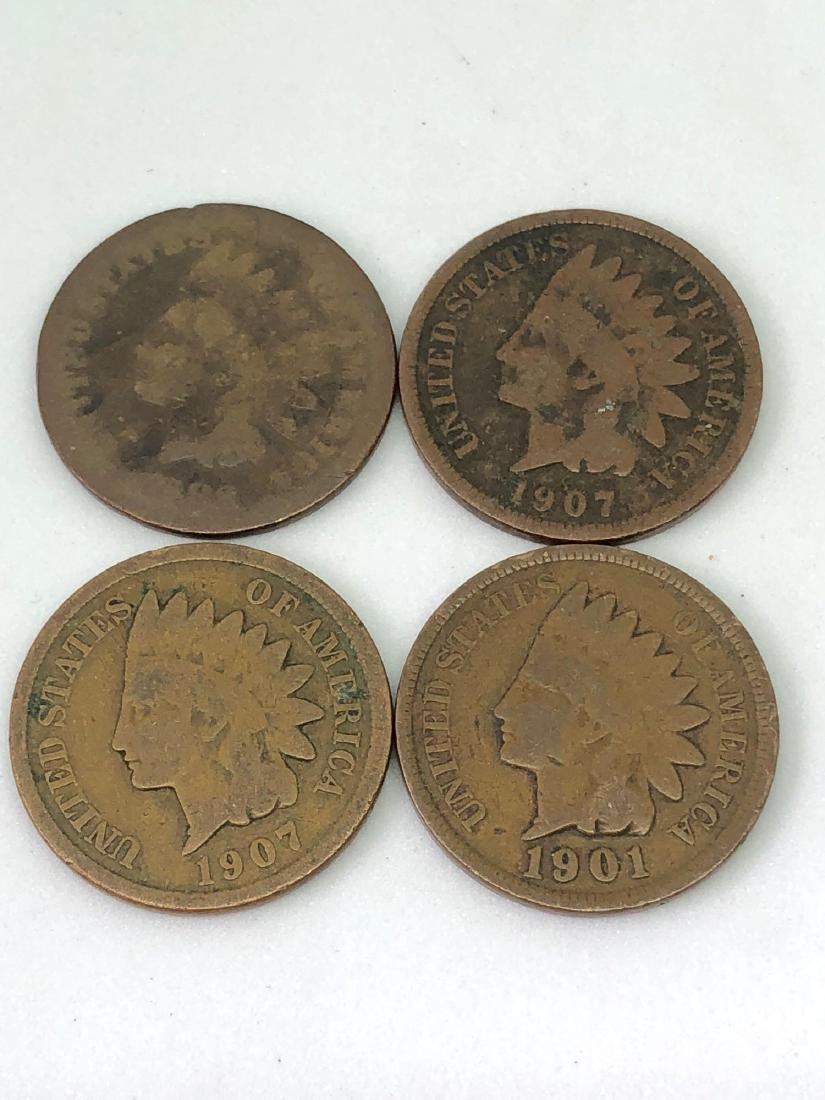 Lot of Four Indianhead Pennies