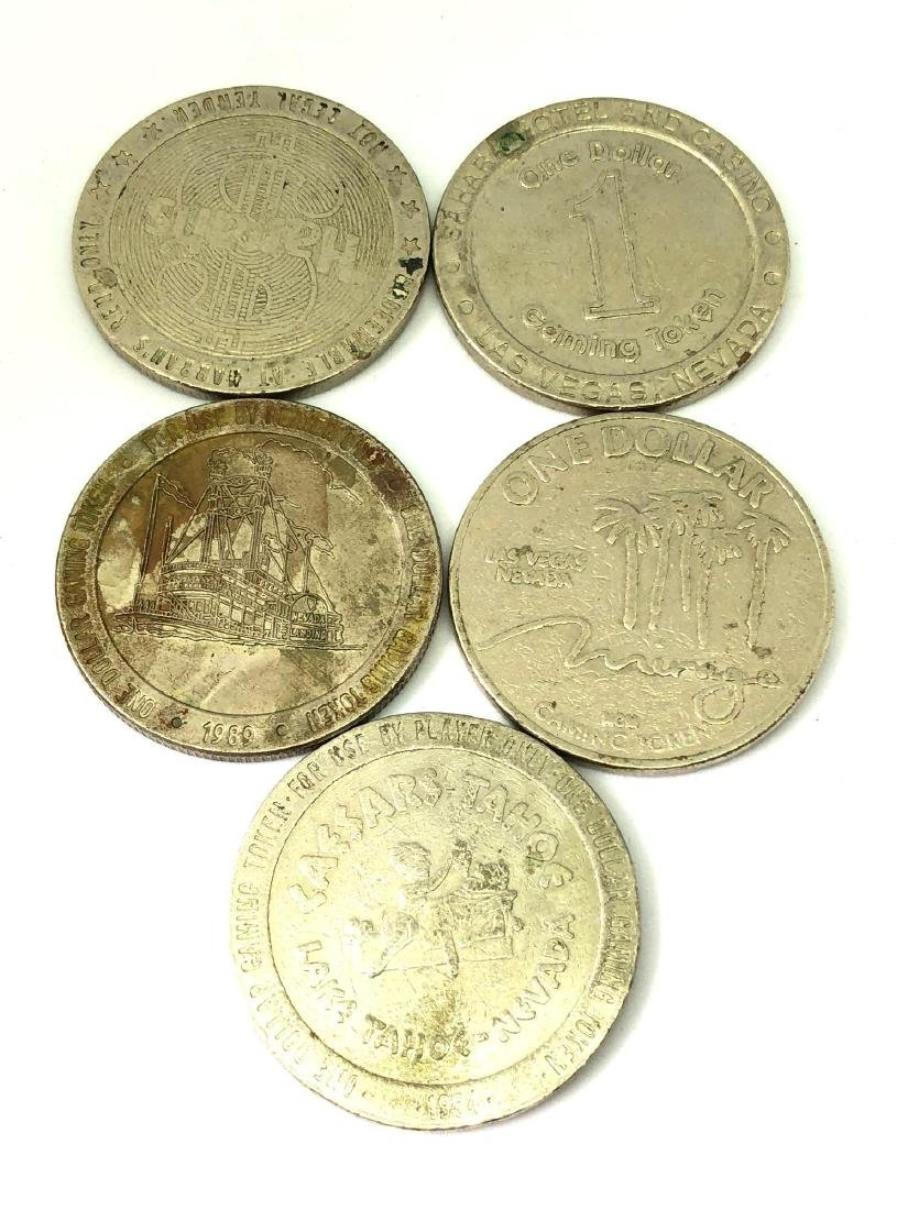 Lot of Five Vintage Dollar Casino Tokens