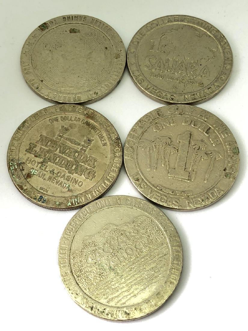 Lot of Five Vintage Dollar Casino Tokens - 2