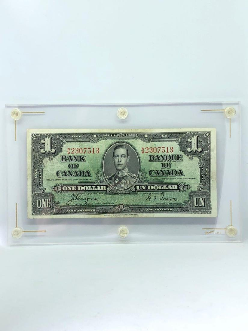 Lot of One Canadian Dollar Signed by Coyne and Towers