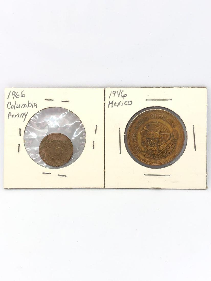 Lot of Two Coins from Mexico and Columbia
