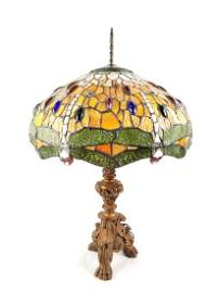 Antique Dragonfly Leaded Glass Lamp with Copper Base